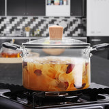 Glass Pot Glass Cookware Set Transparent Double-Ear Glass Pot with Lid Heat Resistant Handles Large-Capacity Induction Cooker