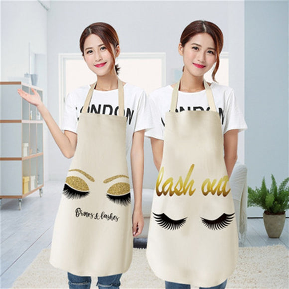 Cooking Kitchen Apron For Woman Nordic Fashion Eyelash Cotton Apron Women Adult Bibs Cooking Baking Coffee Shop Cleaning Aprons