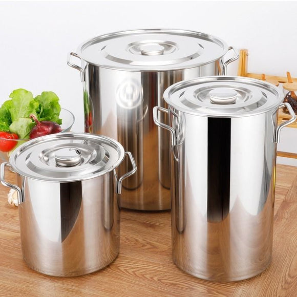 Soup bucket Stainless steel barrel soup pot kitchen cookware chef  household water rice lareg capacity induction cooker oil drum