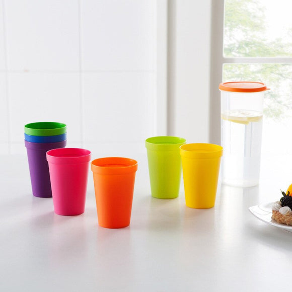 Colorful Cups Plastic Stoup Anti-Dropped Container Drink-ware Beverage Drink Containers Picnic Cup Christmas Kitchen Utensils