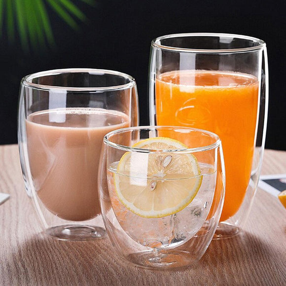 Double Layer Wall Glass Cup Heat-resistant Borosilicate Glass Beer Mug Anti-scalding Water Cups Drink Ware Coffee Drinkware