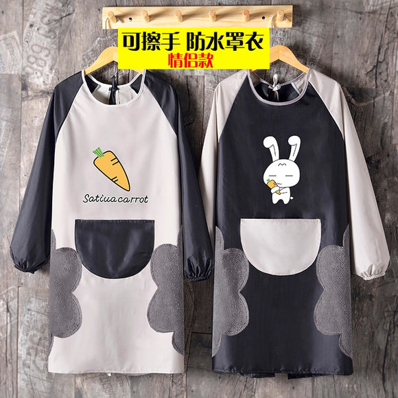 Thickened apron women's fashion long sleeve waterproof household kitchen lovely cover up adult work clothes custom logo