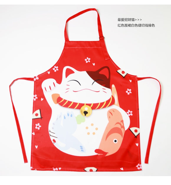 cotton polyster cartoon lucky cat apron water repellent Maneki Neko sleeveless aprons adults baking apron cooking chef gown