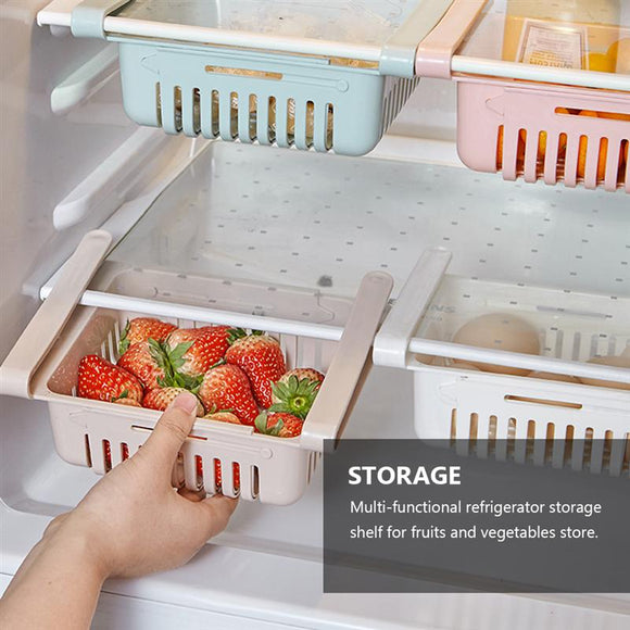 4PCS Storage Rack Refrigerator Partition Layer Holder Organize Kitchen Storage Rack Pull Type Holder Home Storage Random Color