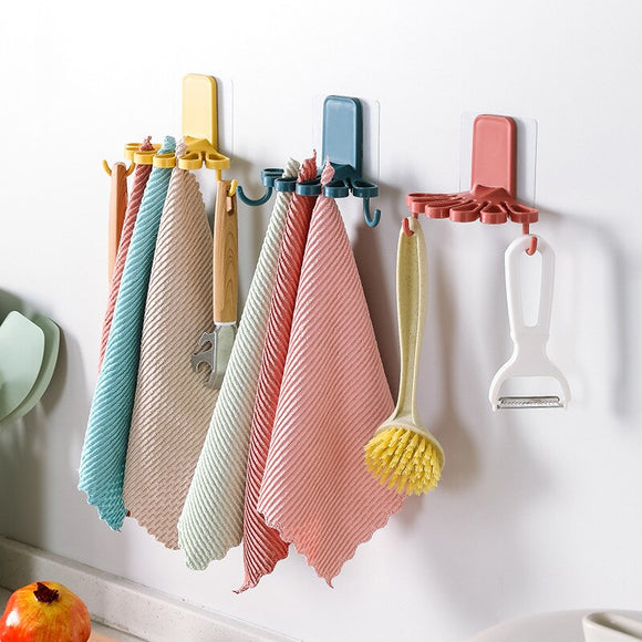 Kitchen Rags Storage Rack Kitchen Supplies Organizing Hook Storage Shelf Wall Moisture Mould Proof Does Not Occupy a Space