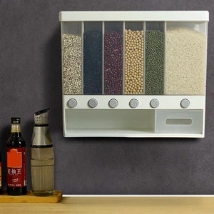 Wall Mounted Press Cereals Dispenser Dry Food Hanger Kitchen Storage Organize Household Dry Food Container Organizer