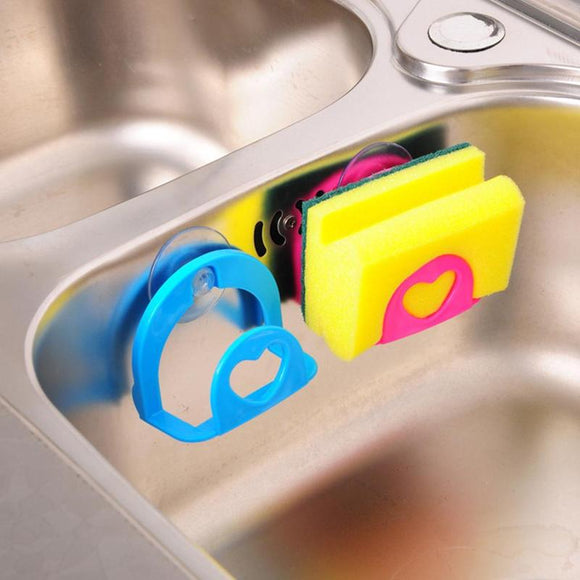 1pcs Suction Cup Debris Rack Kitchen Multi-purpose Suction Wall Cleaning Sponge Hanging Dish Towel Storage Rack Kitchen Organize