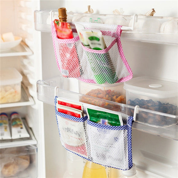 Creative Blue Pink Convenient Refrigerator Door Sorting Hanging Bag Refrigerator Accessories Vegetable Bag Kitchen Organizers