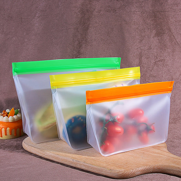 1Pc Silicone Food Storage Container Leakproof Container Reusable Stand Up Zip Shut Bags Cup Fresh Bag Food Home Kitchen Organize