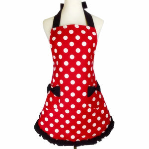 XiuMood Cute Black Lace Red White Dots Kitchen Cooking Aprons For Women
