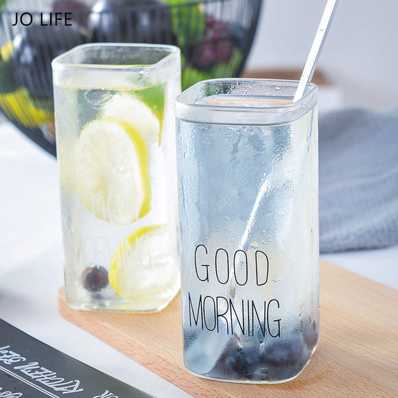 JO LIFE 1PC Transparent Black/White Good Morning  400ML Coffee Mug Rectangle Drinking Glasses  Milk Juice Glass Cup