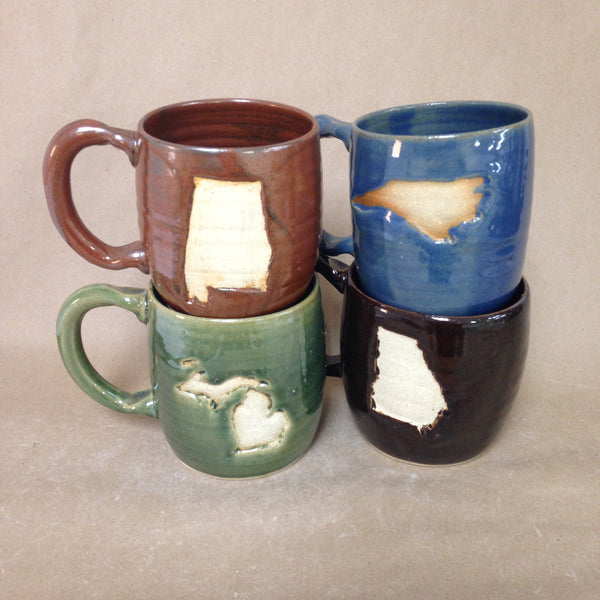 State Stamp Embellished Pottery Mugs