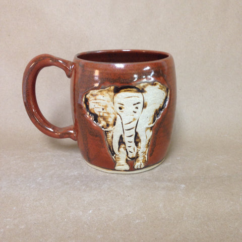 Elephant Stamp Embellished Pottery Mug