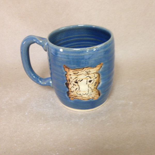 Tiger Stamp Embellished Pottery Mug