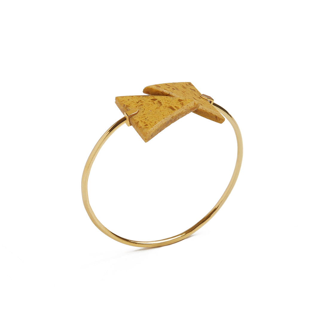 Mustard Triangle Spiral Bangle
