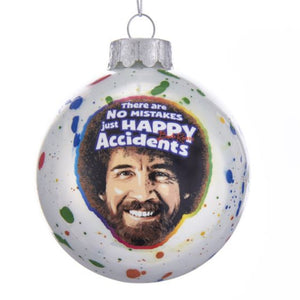 "Bob Ross Red ""Happy Accidents"" Ball Ornament"