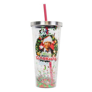 Merry Clarkmas 20oz Glitter Straw Cup From Christmas Vacation