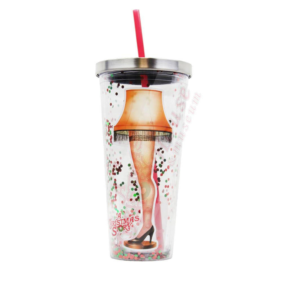 Leg Lamp 20oz Glitter Straw Cup From A Christmas Story