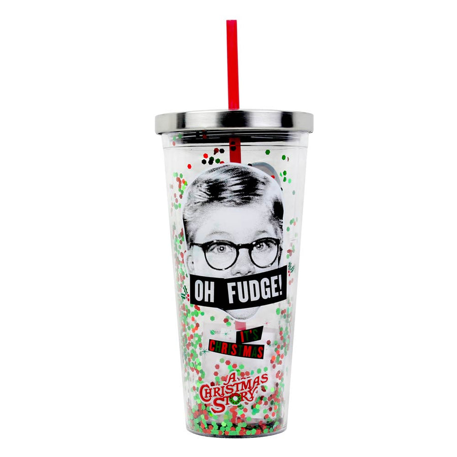 Oh Fudge 20oz Glitter Straw Cup From A Christmas Story