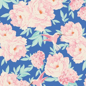Lemontree Hummingbird Blue Tilda fabric