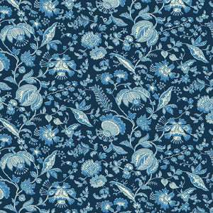 Liberty of London Summer House Victoria Floral Navy quilt fabric with blue flowers on a navy background
