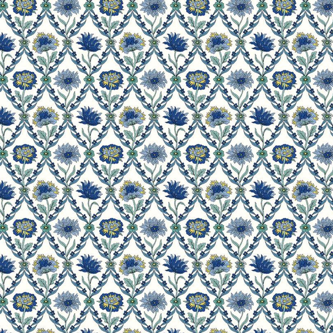 Liberty of London Summer House Kew Trellis Blue quilt fabric with blue flowers in a diamond grid pattern on a white background