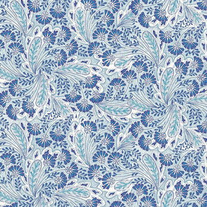 Liberty of London Summer House Feather Dance Blue quilt fabric with two tones of blue flowers and feathers on a white background