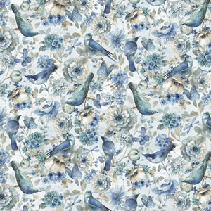 Lisa Audit Digital Print Indigold Birds by David Textiles
