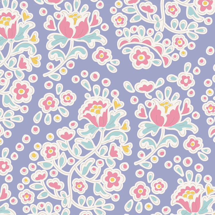 Tilda Happy Campers Charlene Blue quilt fabric with paisley shaped flowers on a purple blue background