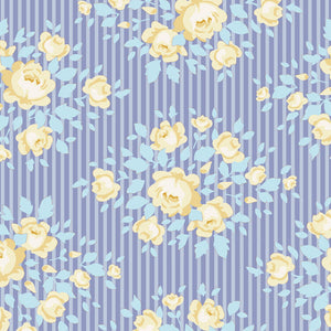 Tilda Happy Campers Marylou Blue quilt fabric with small yellow roses and blue leaves on a striped lilac background