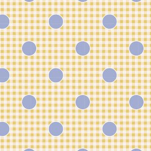 Tilda Happy Camper Gindot Eggnog quilt fabric with periwinkle polka dots on yellow gingham background