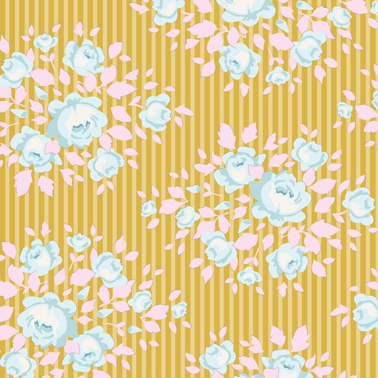 Tilda Happy Camper Marylou Honey quilt fabric with small blue flowers with pink leaves on a golden yellow striped background