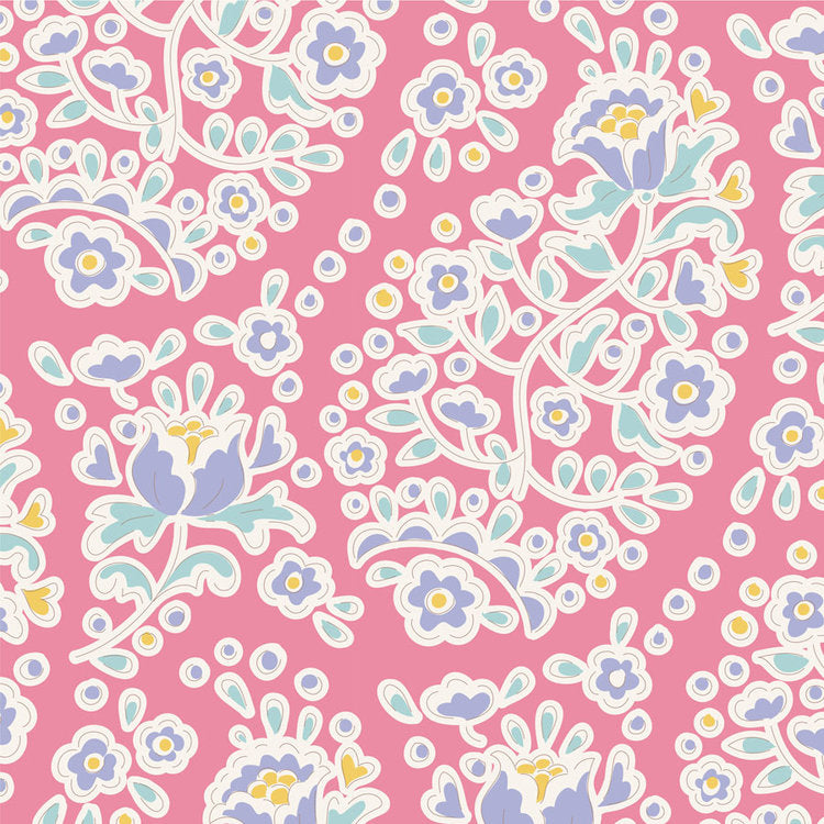 Tilda Happy Campers Charlene Rose quilt fabric with paisley shaped flowers on a pink background