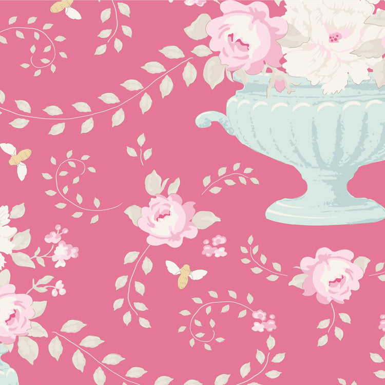 Tilda Happy Campers Flowerbees Rose quilt fabric with blue urns of pink flowers on a rosy pink background