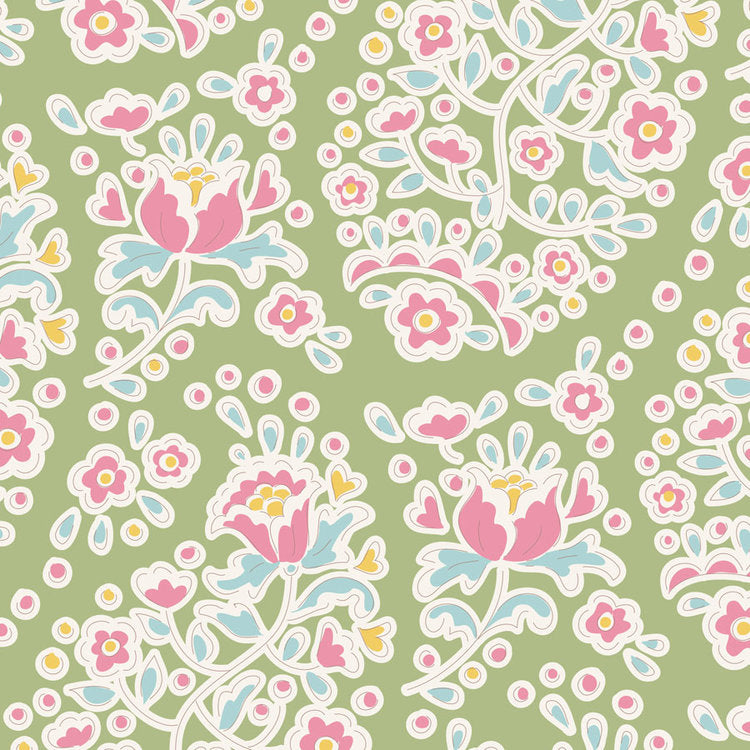 Tilda Happy Campers Charlene Green quilt fabric with pink floral paisley on a green background