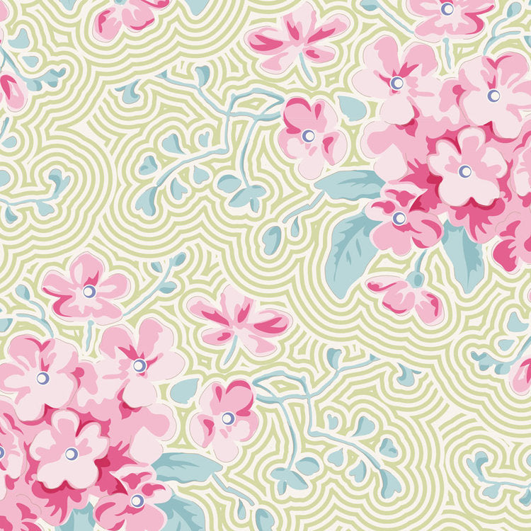 Tilda Happy Campers Primrose Green quilt fabric with pink blossoms on a green background