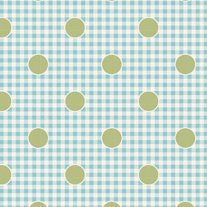Tilda Happy Campers Gindot Teal quilt fabric with green polka dots on a light blue gingham background