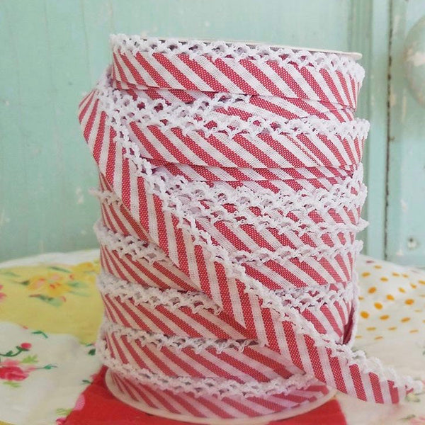 Double Fold Crochet Edge Bias Tape Candy Pink Stripe