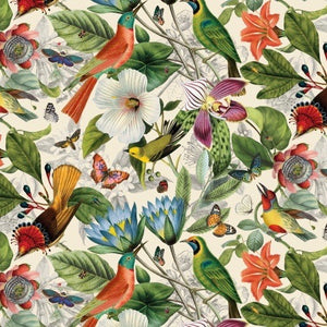 Secret Escape Botanical quilt fabric from Elizabeth's Studio with botanical illustration style flowers and birds