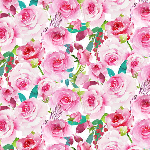 Love Letters Watercolour Roses quilt fabric by Henry Glass with gorgeous pink flowers with green leaves on a white background