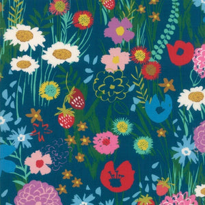 Growing Beautiful Teal fabric by Crystal Manning for Moda