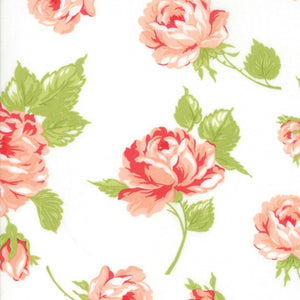 Bonnie & Camille Smitten Cream Rosy Lawn quilt fabric by Moda