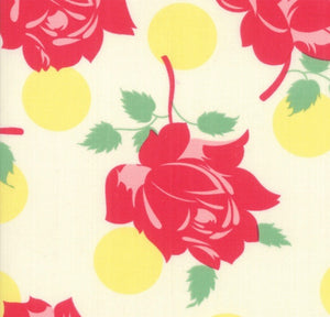 Cheeky Swell Buttercup Cream fabric with large red roses and big yellow polka dots on a cream background by Urban Chiks for Moda