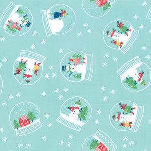 Snow Day Snowglobe Magic by Stacy Iest Hue for Moda aqua fabric with cute holiday snowglobes