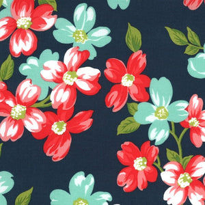 Sunday Stroll Floral Navy Laminated Cotton