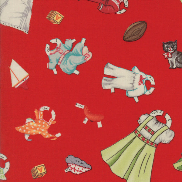 Hop Skip & a Jump Clothes & Toys Red Quilt Fabric by American Jane for Moda