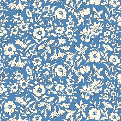 Liberty of London Cottage Garden Morning Dew Blue fabric
