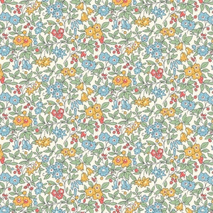 Liberty of London Cottage Garden Forget me Not Yellow & Blue fabric