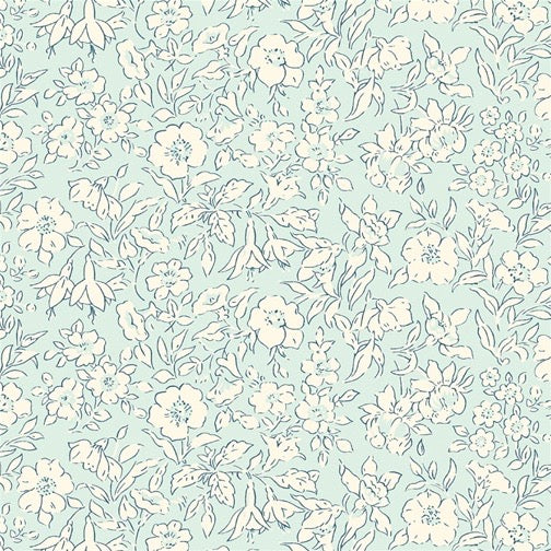 Liberty of London Cottage Garden Forget me Not Pale Blue fabric
