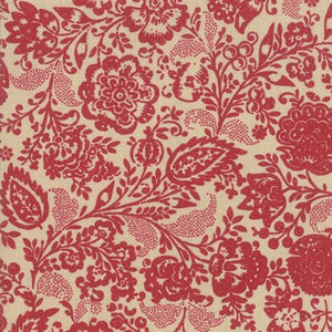 French General Chafarcani Rouge Oyster quilt fabric with brick red floral pattern over a sand coloured background